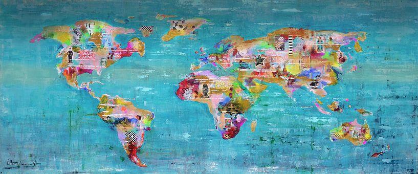 World Art Map Blue van Atelier Paint-Ing