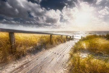 Blockbohlenweg zum Strand auf der Insel Sylt von Voss Fine Art Photography