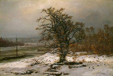 Eiche an der Elbe im Winter, Johan Christian Dahl