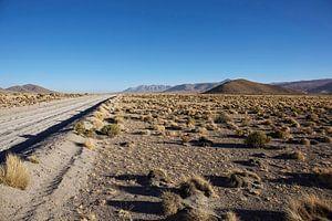 Onverharde weg door de Farallon de Tara woestijn in Bolivia