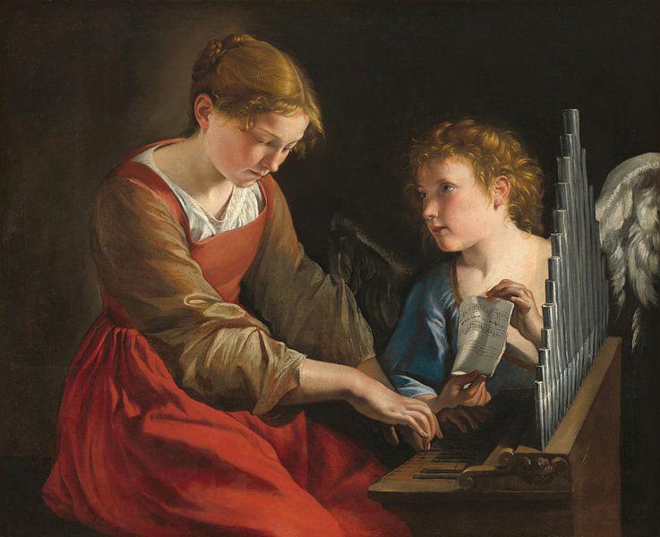 Die heilige Cäcilia und ein Engel, Orazio Gentileschi, Giovanni Lanfranco von Meesterlijcke Meesters