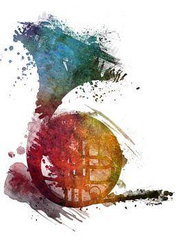 franse hoorn 2 muziekkunst #frenchhorn #muziek van JBJart Justyna Jaszke
