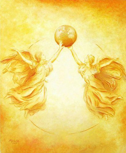 Engel het schilderen - Beschermengel van de Aarde van Marita Zacharias