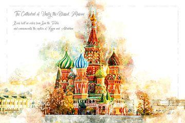 St. Basiliuskathedraal, Waterverf, Moskou van Theodor Decker