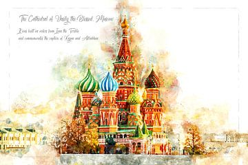 St. Basilius Kathedrale, Aquarell, Moskau von Theodor Decker