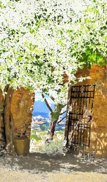 Toscane - Italië - San Gimignano - Toscaans Landschap - Toscaanse Tuin - Schilderij van Schildersatelier van der Ven