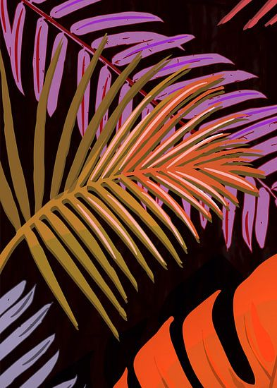 TROPICAL LEAVES & BLACK no2f van Pia Schneider