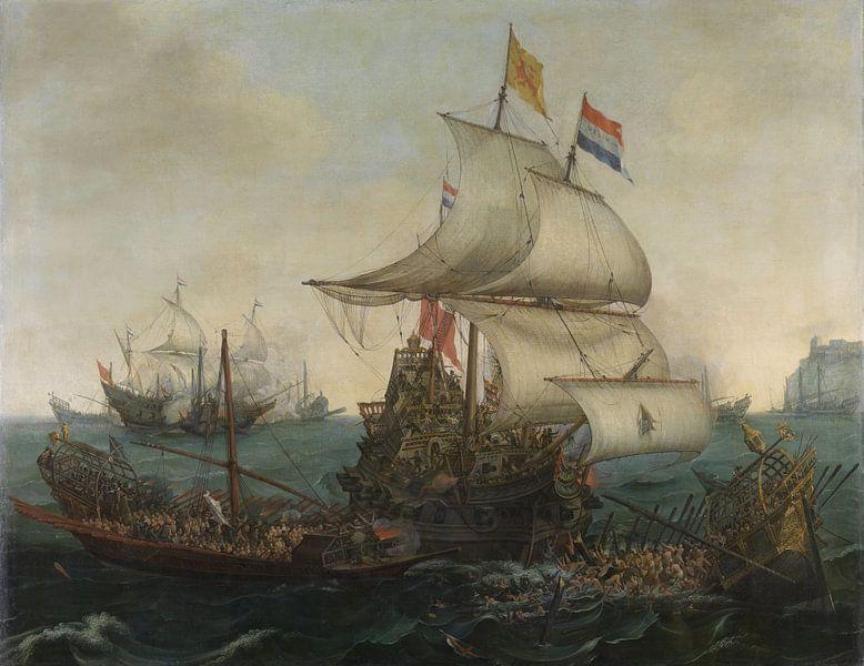 VOC Zeeslag schilderij. Schilderijen uit de Gouden Eeuw van Nederland van Schilderijen Nu