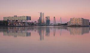 Skyline van Rotterdam met maastoren en hef