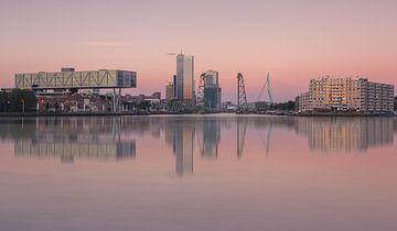 Skyline van Rotterdam met maastoren en hef van