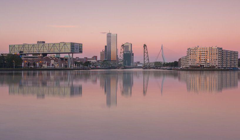 Skyline van Rotterdam met maastoren en hef van Ilya Korzelius