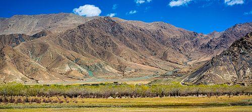 Panorama van het berglandschap in de omgeving van Gyantse, Tibet