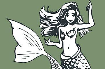 Meerjungfrau mit Muschelbikini auf grünem Hintergrund von Emiel de Lange