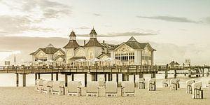 RÜGEN pier in Sellin bij zonsondergang   Vintage Panorama