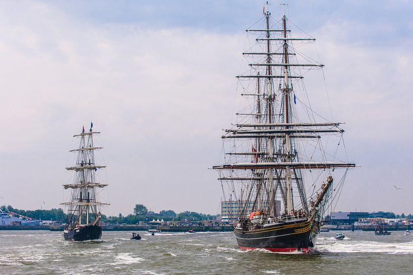 Zeilschip De Stad Amsterdam en de Mercedes van Brian Morgan