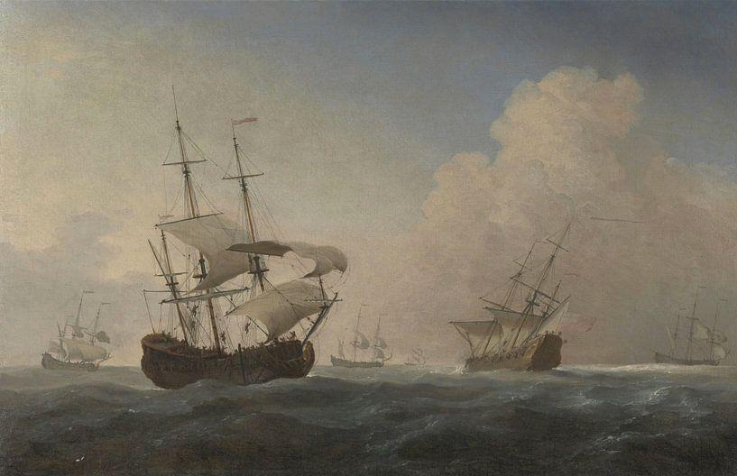 Vaisseaux de guerre anglais Heeling in the Breeze Offshore, Willem van de Velde the Younger sur Meesterlijcke Meesters