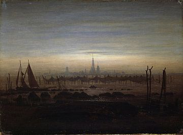 Caspar David Friedrich, Greifswald im Mondschein - 1817 von Atelier Liesjes