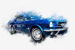 1964 Ford Mustang Pony Car Seite digitale Malerei in Aquarell von Andreea Eva Herczegh