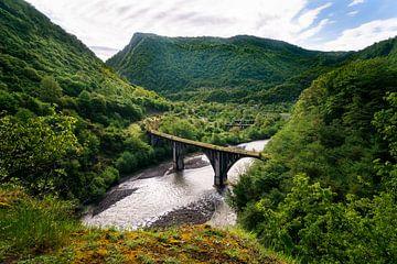 Pont ferroviaire abandonné dans les montagnes. sur Roman Robroek