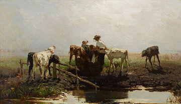 Willem Maris Kälber in einem Trog 1863