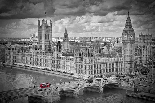 London - Westminster black & white van Melanie Viola