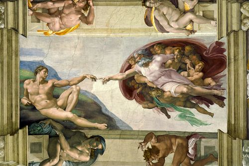 Michelangelo. Sixtijnse Kapel, Schepping van Adam van 1000 Schilderijen