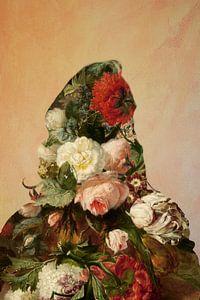 Bloemenportret van een vrouw. van Studio Maria Hylarides