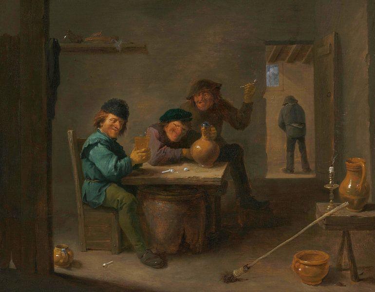 Bauern in einer Taverne, David Teniers II von Meesterlijcke Meesters