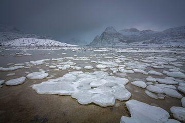 Winter landschap op de Lofoten met bevroren fjord en sneeuwbergen van Chris Stenger