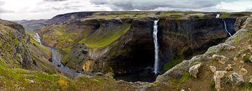 Panorama Háifoss waterval 1 te IJsland van