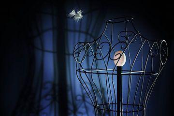œuf dans une poupée de tailleur en métal comme dans une cage à oiseaux et une plume volante, concept sur Maren Winter