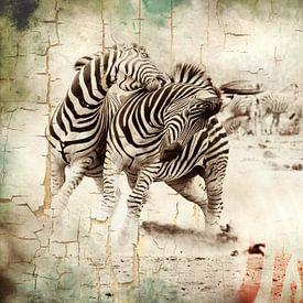 Grunge mixed art van zebra's in het wild van Heleen van de Ven