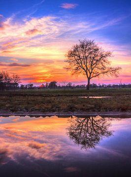 Prachtige lucht tijdens zonsondergang in Zenderen (Overijssel). van Nicky Wagenvoort