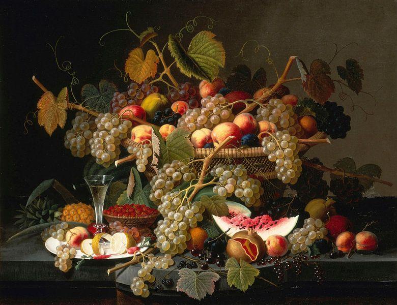 Stilleven met fruit, Severin Roesen van Meesterlijcke Meesters