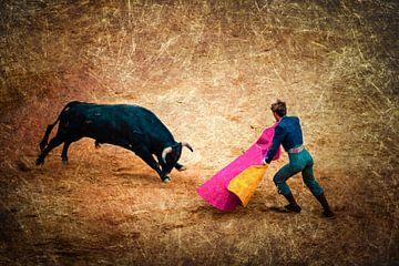Meervoudige belichting op bruin stierengevecht met matador en stier van Dieter Walther