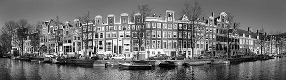 Prinsengracht Amsterdam panorama in zwart wit