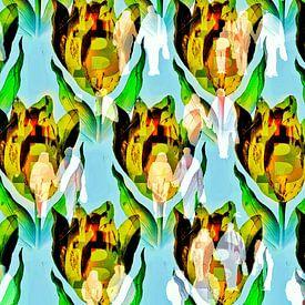 Bitcoin mania (crypto tulp met mensenmassa) van Ruben van Gogh