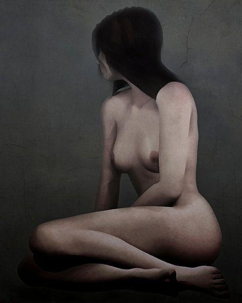 Erotisch naakt - Naakt verdwaald in haar gedachten. van Jan Keteleer