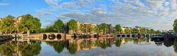 Amstel panorama zomerochtend reflectie sur