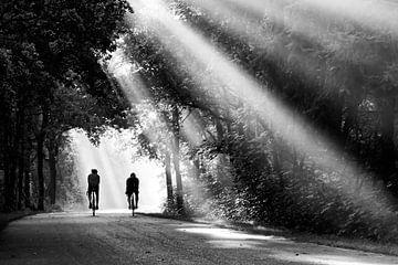 Les cyclistes dans le paysage sur Fokje Otter