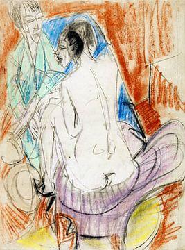 Selbstporträt mit Gerda (Mann und Sitzende im Atelier), ERNST LUDWIG KIRCHNER, 1915