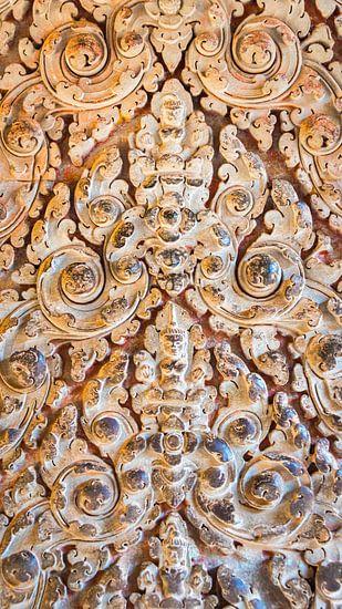 Detail van beeldhouwwerk in de tempel, Cambodja