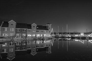 Reitdiephaven Groningen bij nacht, zwart wit van Han Kedde
