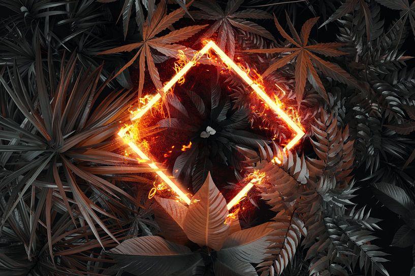 gedraaide rechthoek in vlammen boven tropische planten van Besa Art