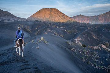 Op de zwarte zandvlakte van de Bromo vulkaan van Anges van der Logt