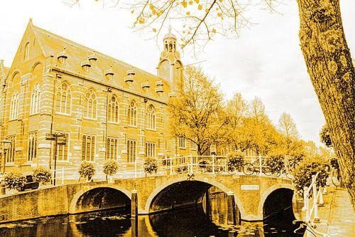 Nonnenbrug met Academiegebouw Leiden Nederland Goud