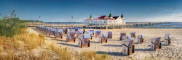 Strand en pier van Ahlbeck op het eiland Usedom van Fine Art Fotografie