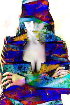 Vrouw met decolleté abstract meerkleurig van Art By Dominic