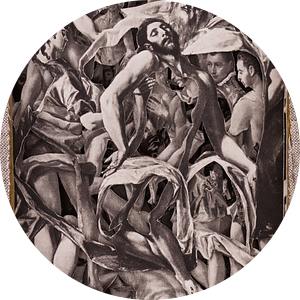 Oud boek met de schilderijen van El Greco, uitgesneden met een scalpel van Oscarving