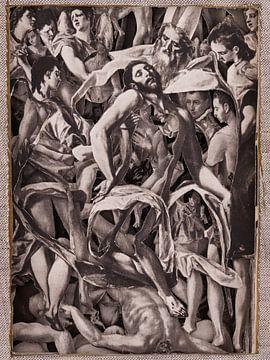 Collage in sepia - Jezus na kruisiging uit schilderijen van oude meester El Greco van Oscarving